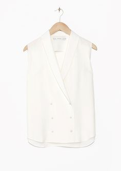 & Other Stories | Double Breasted Silk Blouse | White