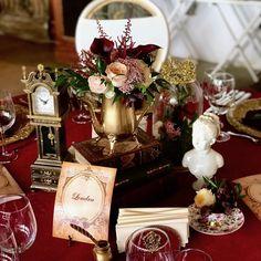 Decor de Nuntă cu Tematica British Tea Party, în Tonuri de Auriu & Catifea Burgundy@SunGarden Resort - Burgundy & Gold Velvet Wedding Decor