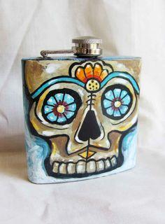 Hand painted flack Dia de Los Muertos Sugar Skull