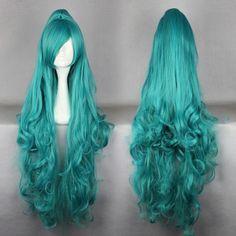 Moda Senhora longa das mulheres de cabelo ondulado perucas cosplay clássico , cabelos longos 10 32inches em Perucas de Beleza & saúde no Ali...