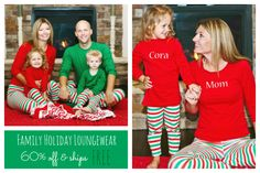 Family Holiday Loungewear: Preorder now through 10/12/15. Love this idea of matching pjs for Christmas card!! Simple and cute!