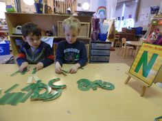 Pre-k builds letters with blocks!