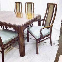 6 Drexel Mid Century Modern Cane Back Dining Chairs  Furniture Cool Drexel Dining Room Furniture Decorating Design