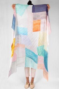 Colorblock Print Silk Scarf