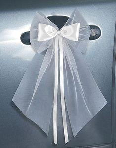 satin bow and tulle - New Deko Sites Foto Wedding, Wedding Bows, Wedding Prep, Diy Wedding, Wedding Car Decorations, Wedding Centerpieces, Bridal Car, Wedding Rentals, Wedding Chairs
