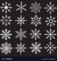 Chalkboard Snowflakes Silhouette vector image on VectorStock Snow Tattoo, Snow Flake Tattoo, Hp Tattoo, Tattoo Small, Tattoo Flash, Christmas Doodles, Christmas Art, Christmas Ornaments, Xmas
