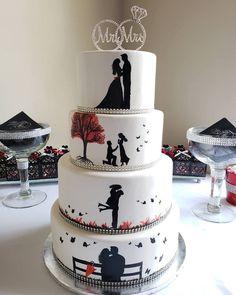 Sparkly Wedding Cakes, Wedding Cake Fresh Flowers, Wedding Sweets, Fall Wedding Cakes, Wedding Cake Decorations, Wedding Cake Designs, Engagement Cake Design, Engagement Cakes, Silhouette Wedding Cake