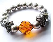 Orange Crystal and Silver Plated Bead Stretch Bracelet - Upcycle Jewellery