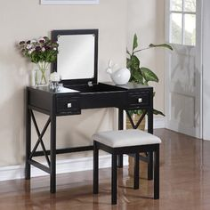 Linon Anna Vanity:: LOVE That the mirror folds down. would be perfect in front of the corner window.