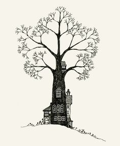 Treehouse. I love the simplicity of this drawing. This is a much more sophisticated vision of the adult treehouse, other than the one you think about when your young.