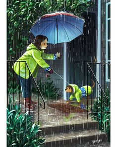 Artist Yaoyao Ma Van As creates beautiful and melancholic illustrations that will teach you to enjoy the little things. Rain Pictures, Pictures Images, Photos, Alone Art, Estilo Anime, Dog Illustration, Girl And Dog, Dog Art, Cartoon Art