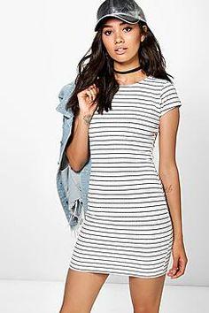 Petite Mari Stripe Bodycon Dress