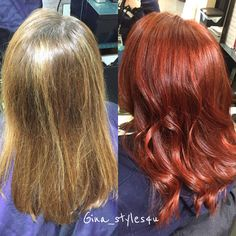 Red copper shiney hair curls blonde hair trends transformation before and after @milk_shake creative haircolor