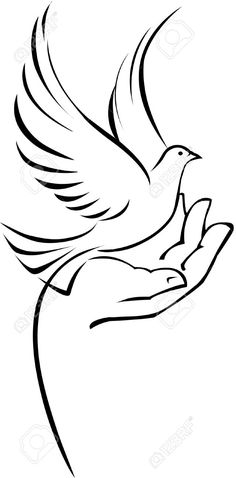 Dove On Hand Royalty Free Cliparts, Vectors, And Stock Illustration. Bird Drawings, Pencil Art Drawings, Art Drawings Sketches, Easy Drawings, Vogel Silhouette, Bird Silhouette Art, Silhouette Design, Stencil Art, Stencils