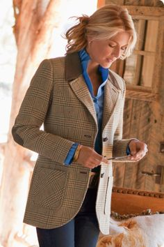 The Middleburg Jacket - Channel updated equestrian chic in this versatile, lightweight glen plaid riding jacket