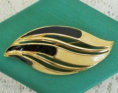 Signed Trifari Vintage Enamel Brooch, Leaf Style, Cream and Black, Golden Edging, Trifari Connections Original Box