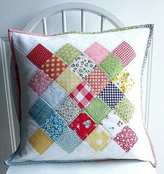 Scrappy Great Granny Pillow by happy little cottage, via Flickr