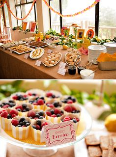 A Sunshine Birthday Party (with a splash of pink!).  Nice buffet setup.