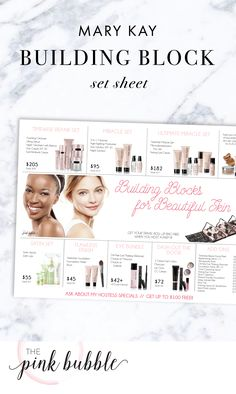 Mary Kay Building Block for Beautiful Skin Set Sheet! Find it only at www.thepinkbubble.co!