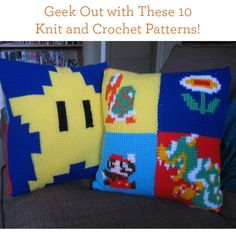 Star Wars, Mario Brothers, Pacman crocheted pillows. What child wouldn't want these?