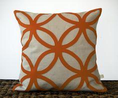 Modern Copper DECORATIVE PILLOW COVER - Geometric Felt Design by JillianReneDecor