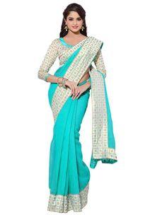 Firozi Color Fancy Cotton Party Wear Designer Sarees :