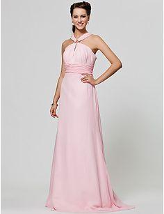 A-line Straps Floor-length Chiffon Bridesmaid Dress - USD $ 128.69