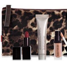 Laura Mercier Set/Sephora Leopard Gift Bag Lipstick, Foundation Primer, Lip Glacé, & Leopard Cosmetic Bag.  Crème Smooth Lip Colour in Audrey (Medium-to-full coverage lipstick in a neutral shade of red.Glides on evenly and lasts for up to 8 hours)Foundation primer - Radiance (Lightweight, a luminizing primer preps skin for flawless foundation application.)Lip Glacé in Bare Naked (Sheer, high-shin gloss in a shimmering champagne hue.Wear alone or layer for a lustrous finish.).  Free…