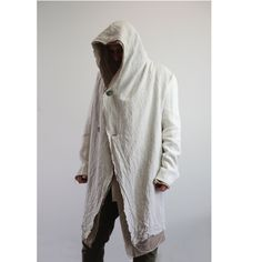 Men's Hooded Linen Coat. Raw edged post- apocalypse jacket/ hoodie. Goth-ninja coat. Men's coat. Men's jacket. by URBANDON on Etsy
