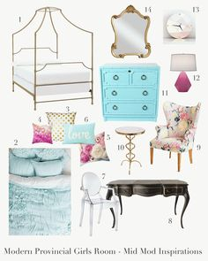 Modern provincial girls room, style board, potter barn teen canopy bed, gold, teal, pink, geometric pink lamp, anthropologie chair, french provincial black desk, gold side table, lucite chair, Mid Mod Inspirations