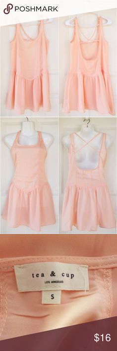 🆕 NEW Blush Criss Cross Backless Short Dress NWOT! New without tags! This is a great summer short dress from Tea & Cup. It's in a pink blush color, perfect with a bralette underneath or for any beach/pool day. It's open back and has a criss cross detail. Tag reads size small. A bit sheer. 100% polyester. No swaps/trades! Tea n Cup Dresses Backless