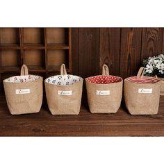 Hot Stripe Small Storage Sack Cloth Hanging Non Woven Storage Basket Bag New