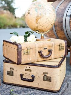 decoration inspiration for travel themed debond. Anyone have a globe or old suitcases? May could find at thrift store                                                                                                                                                     More