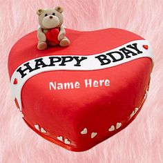Generate Custom Text on Happy Birthday Cake For Girlfriend.Best Cake For Lover With Her Name.Print Girl Name on Heart Cake.Name on Cute Teddy Birthday Cake Pics Happy Birthday Dear Friend, Ben 10 Birthday, Happy Birthday Black, Friends Birthday Cake, Happy Birthday Wishes Cake, Teddy Bear Birthday, Friends Cake, Write Name On Cake, Happy Fathers Day Greetings