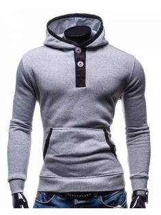 Slimming Hooded Modish Color Block Splicing Button Design Long Sleeve  Cotton Blend Men s Hoodie Hoodies For 35026760360