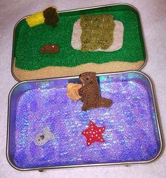 Felt otter Animal in tin https://www.etsy.com/listing/290197839/itty-bitty-maties-miniature-felt-otter