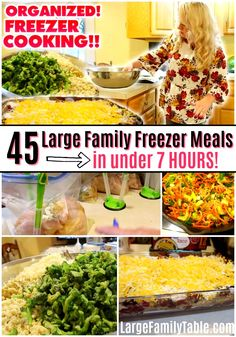 Watch me make 45 organized large family freezer meals in just under 7 hours from my large family freezer meals pack two in this vlog. Budget Freezer Meals, Freezer Cooking, Frugal Meals, Cheap Meals, Fast Meals, Kid Meals, Inexpensive Meals, Freezer Recipes, Easy Recipes