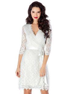 Amazon.com: Grapent Women's Lace 3/4 Sleeves Midi Business Cocktail Short Formal Wrap Dress: Clothing