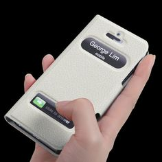 Caller ID Display Leather Case and Screen Protector for iPhone 5 (White)