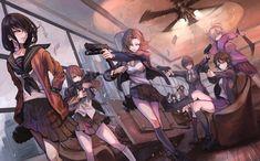Anime 1890x1176 anime anime girls cleavage gun weapon sweater sword women with guns original characters school uniform