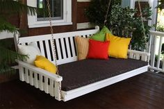 Amish Pine Wood Traditional English Swing Bed Create a comfy outdoor nook! Pine wood makes a durable, stylish, ultra cozy swing bed to take you away from the pressures of the day! #swingbeds #pinefurniture