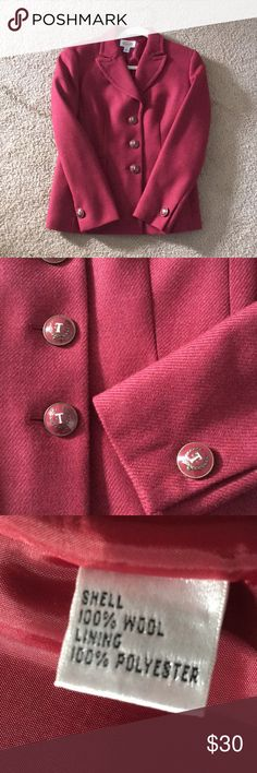 Talbots tailored red wool blazer, size 6 Talbots dark red blazer, 100% Wool with silky red lining. Size 6, Tailored fit. Like new, may have been worn once. Talbots Jackets & Coats Blazers