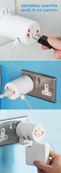 Give this adapter a twist—different prongs work in over 150 countries. Charge three or four devices at once with a single outlet. Great for traveling abroad.