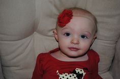 Headband - CUSTOM ORDER - Red Shabby Chic Chiffon Flower on an elastic band.