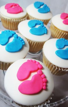 These were made for a couple who wanted to have a gender reveal party. They were so taken by the little feet they saw in the ultra sound that they wanted their cupcakes to have precious little feet on them! What will the filling reveal? A boy or a girl!