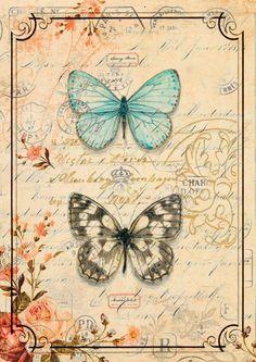 Duet Papillon by Chad Barrett (Butterfly) Vintage Labels, Vintage Cards, Vintage Paper, Vintage Images, Chad Barrett, Vintage Butterfly, Decoupage Paper, Decoupage Vintage, Vintage Prints