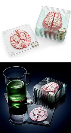 An intelligent novelty gifts for your friends in the Medical field. Check it out==> | Brain Specimen Coasters | http://gwyl.io/brain-specimen-coasters/