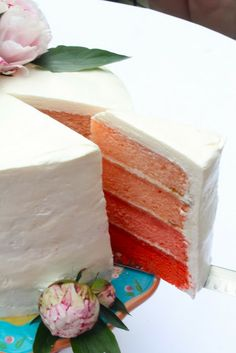 Yammie's Noshery: Pink Ombre Cake With Italian Meringue Buttercream (TO USE WITH THE CHERRY 7 UP CAKE)