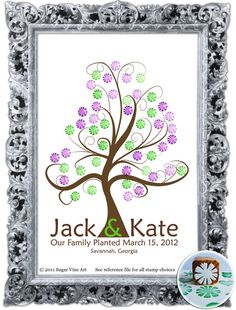 THUMBPRINT TREE Fingerprint Stamp guest book Tree by SugarVineArt, $59.25