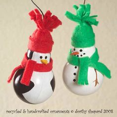 The Free Money-Saving Tips Ezine: Homemade Christmas Ornaments: Penguin and Snowman